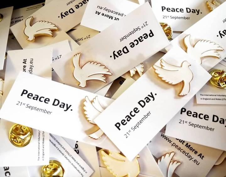 Peace pins produced by International Voluntary Service, available from Edinburgh Quaker Meeting House